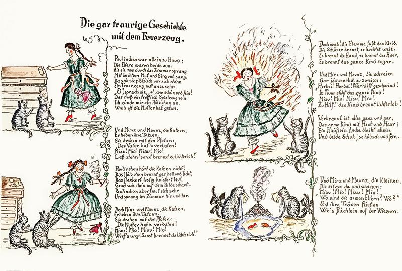 Doppia pagina illustrata con testo in tedesco